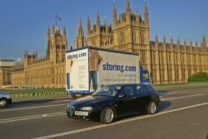 Storing.com truck near Houses of Parliament, London