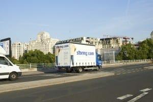 Storing.com truck near Savoy Hotel, London