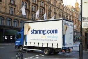 Storing.com truck outside Harrods, London