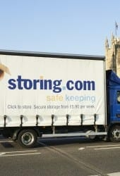 Storing.com truck with London Bus