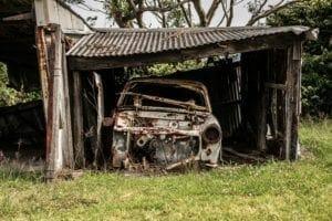ramshackle garage used for storage