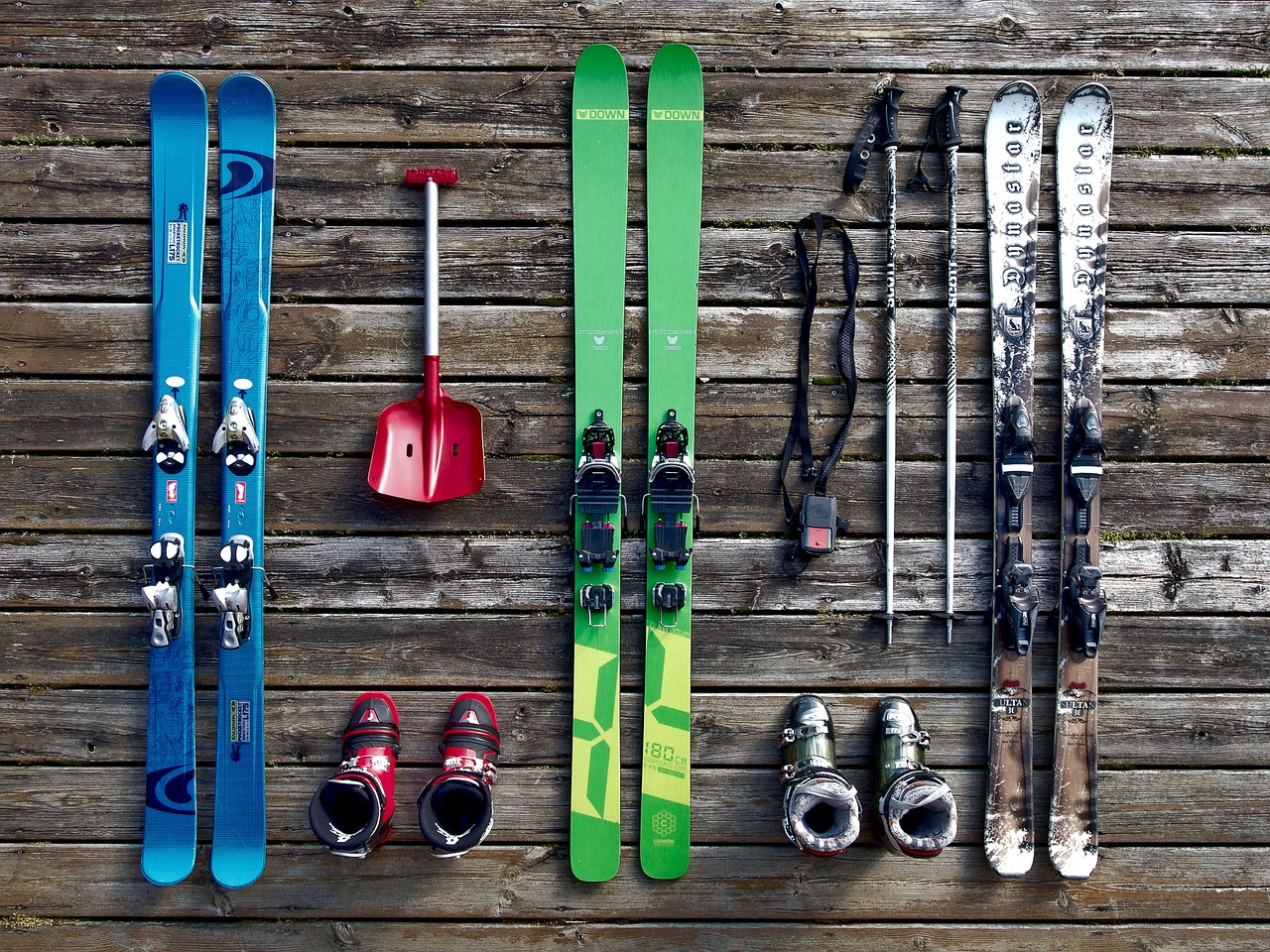 Ski equipment in storage