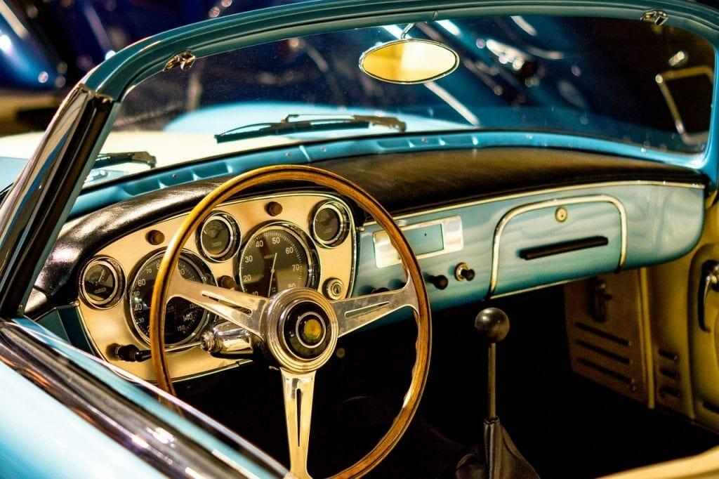A classic car in storage