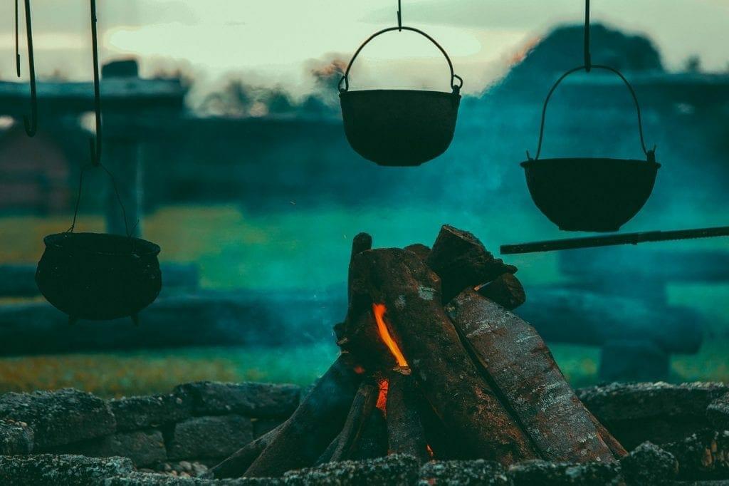 Camping trip bonfire