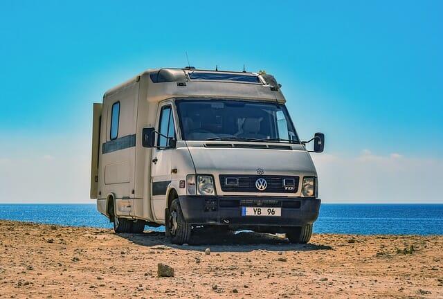 A camper van by the sea